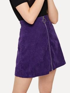 Zip Front Bodycon Cord Skirt