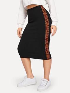 Leopard Tape Rib-knit Bodycon Skirt