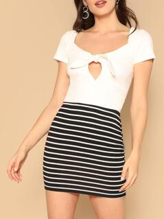Striped Print Bodycon Skirt