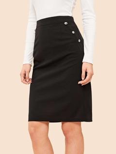 80s Button Detail Bodycon Skirt