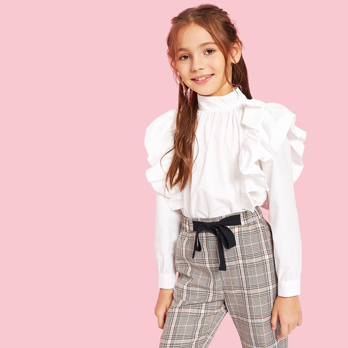 SHEIN / Mädchen Bluse mit Stehkragen, Raffung und Plissee vorn