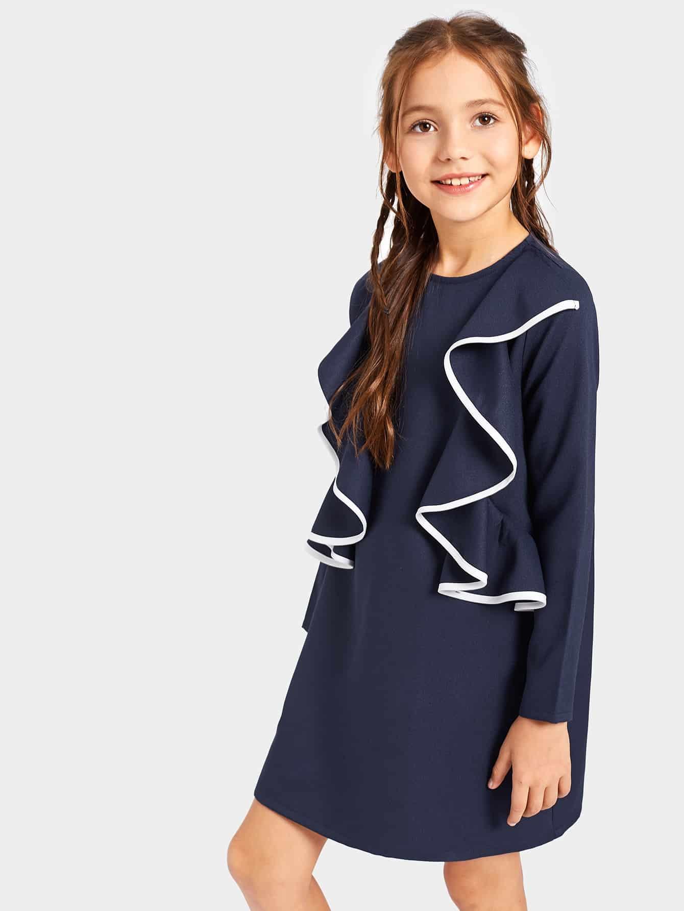 Купить Платье с оборкой и контрастной кулиской для девочек, Alice A, SheIn
