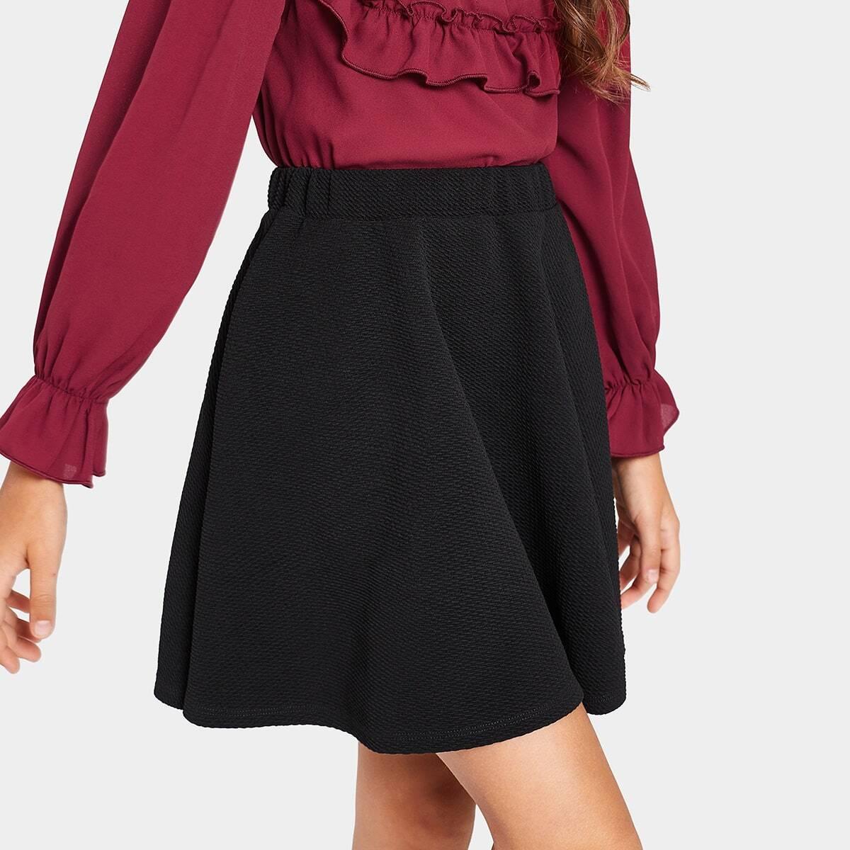 Однотонная юбка с узором для девочек от SHEIN