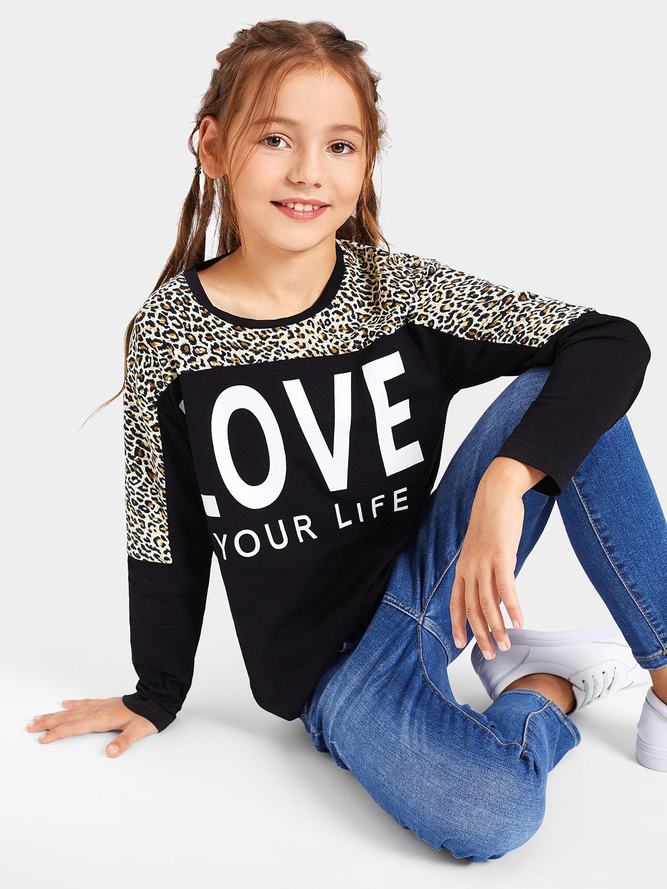 Купить Леопардовая футболка с текстовым принтом для девочек, Alice A, SheIn