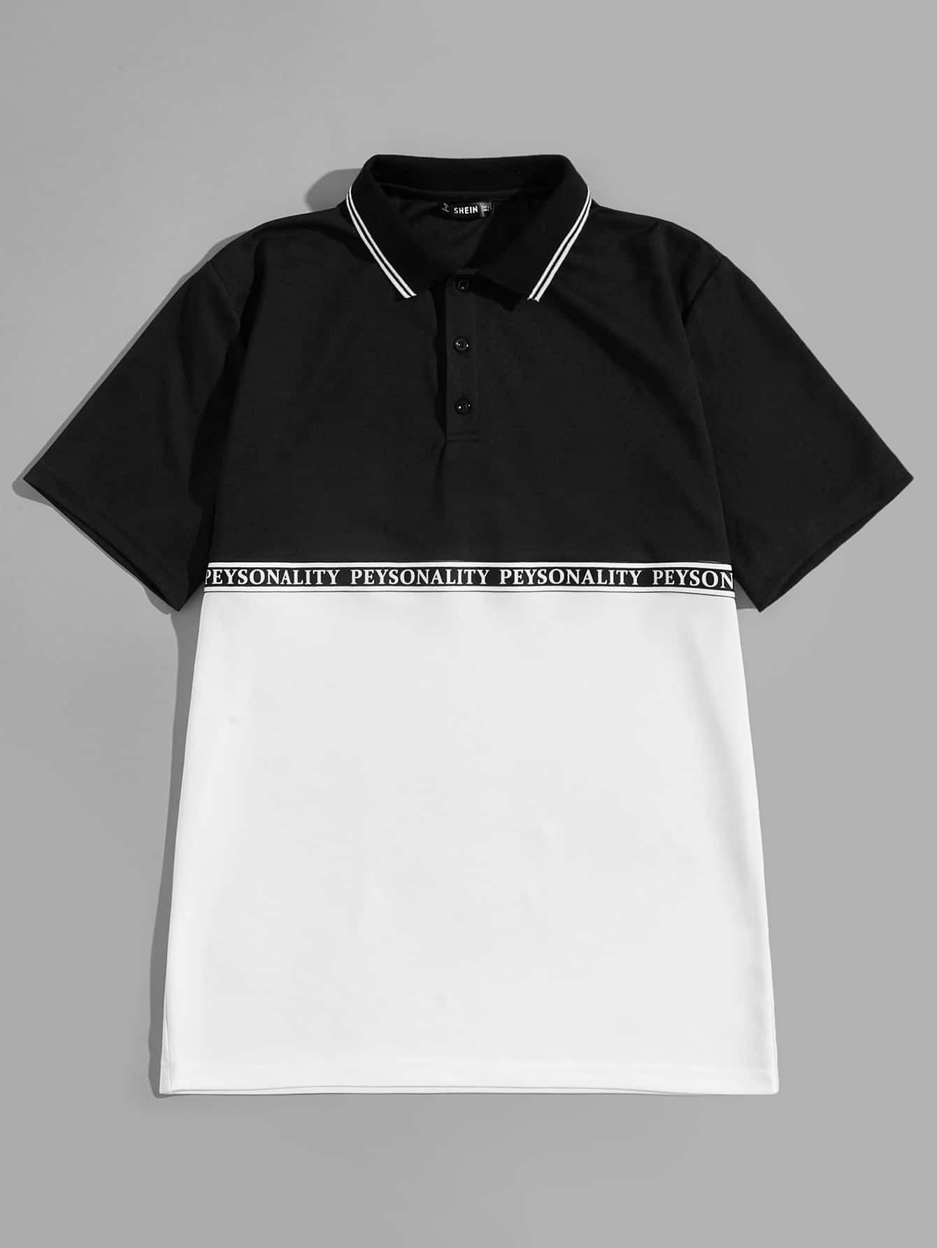 Купить Мужская двухцветная рубашка-поло с полосатым воротником, null, SheIn