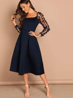 Applique & Mesh Sleeve Flared Dress