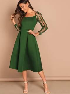 Flower Applique Mesh Sleeve Box Pleated Dress