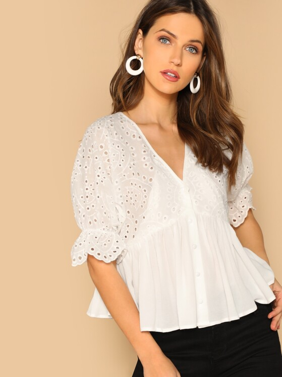 042eae05 Embroidered Eyelet Sleeve Button Front Boho Blouse | MakeMeChic.COM
