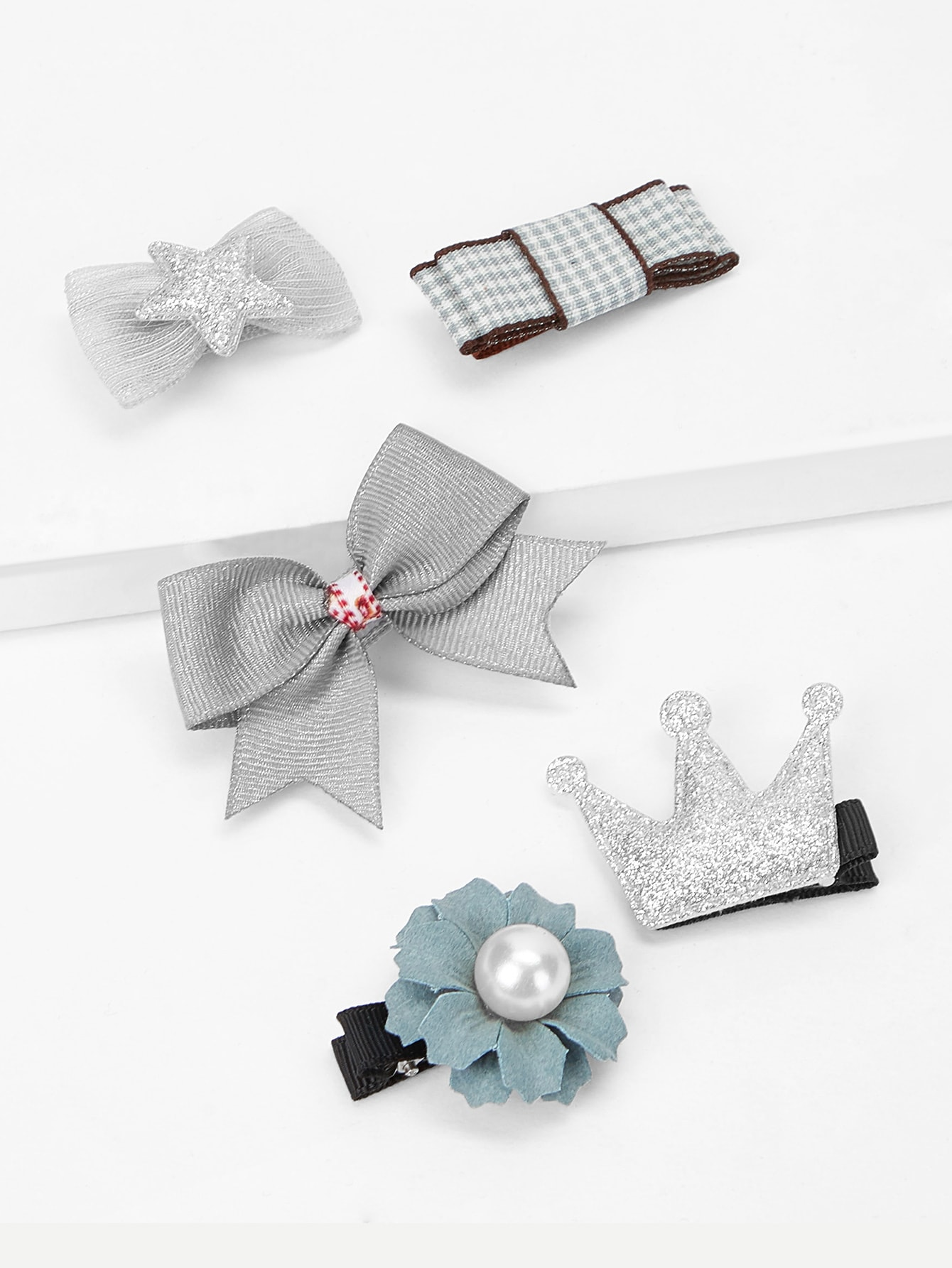 Купить Для девочек цветок и бант заколки для волос 5 шт., null, SheIn