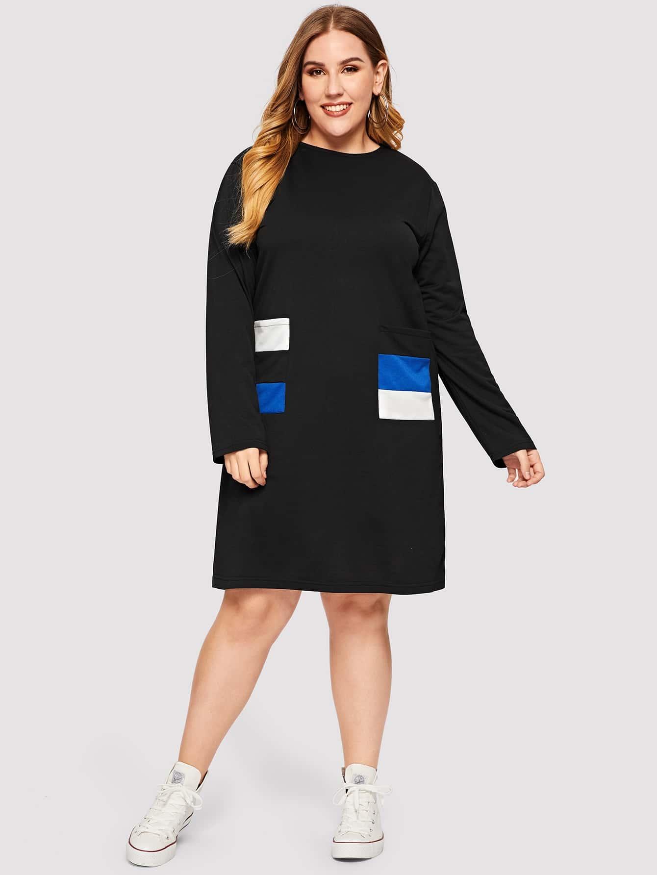 Размера плюс платье на молнии с контрастным карманом