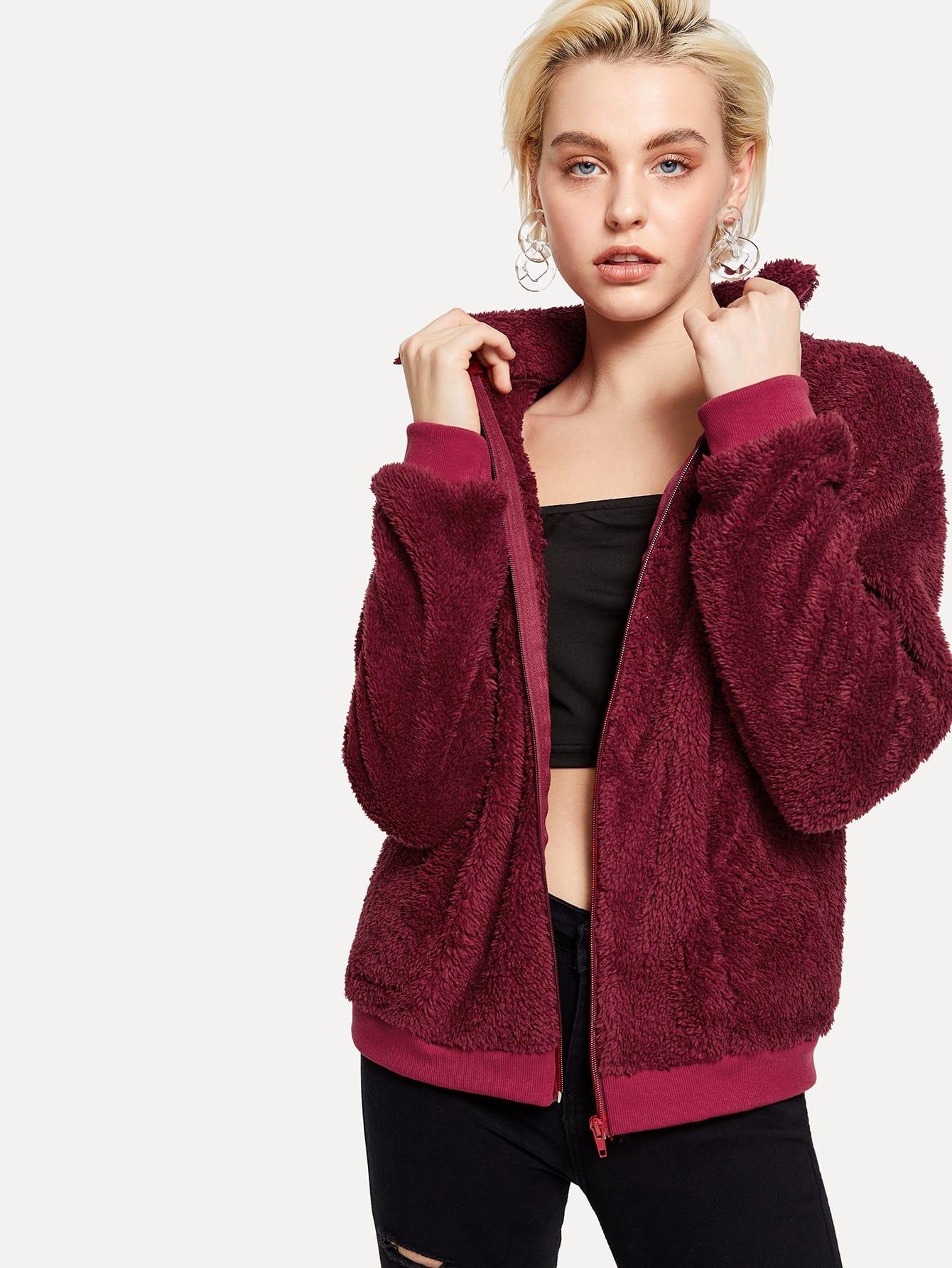Купить Твердая тедди куртка на молнии, Liza K, SheIn