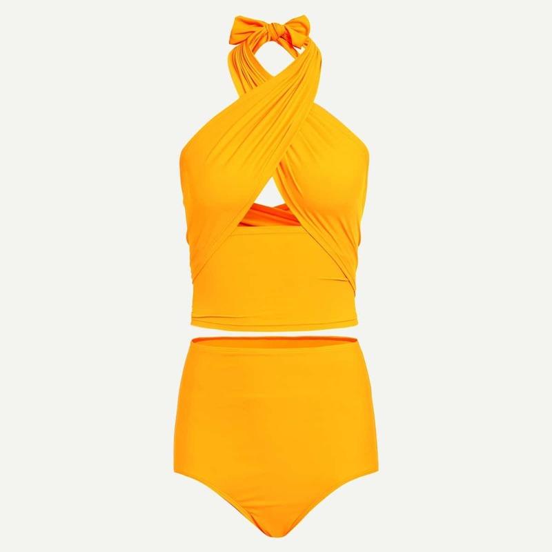 Wrap Top With High Waist Bikini Set, Yellow bright