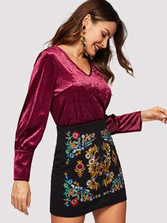 Buttoned Cuff Solid Velvet Top