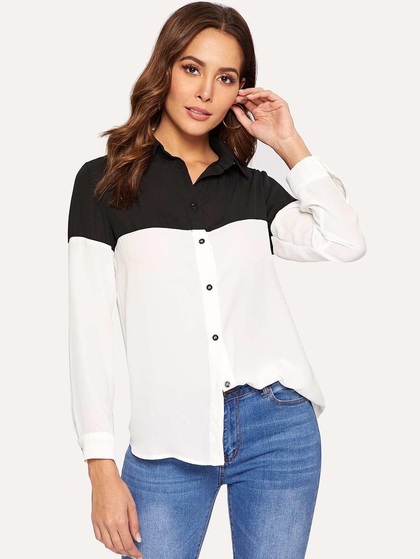 Купить Контрастная рубашка на пуговицах, Giulia, SheIn