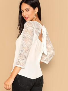 Tied Back Lace Sleeve Top