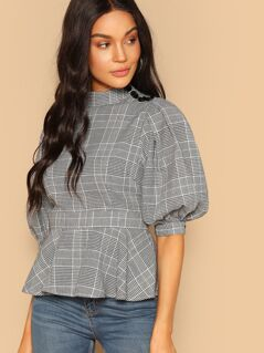Mock Neck Buttoned Puff Sleeve Plaid Peplum Blouse