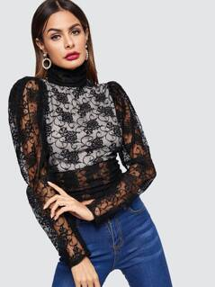 Contrast Lined Knot Open Back Lace Blouse