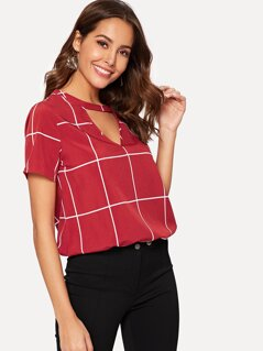 Choker Neck Grid Print Top