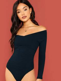Cross Wrap Off Shoulder Rib-knit Bodysuit
