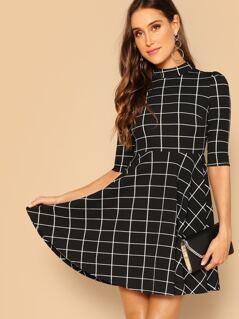 Mock-neck Grid Print Fir & Flare Dress
