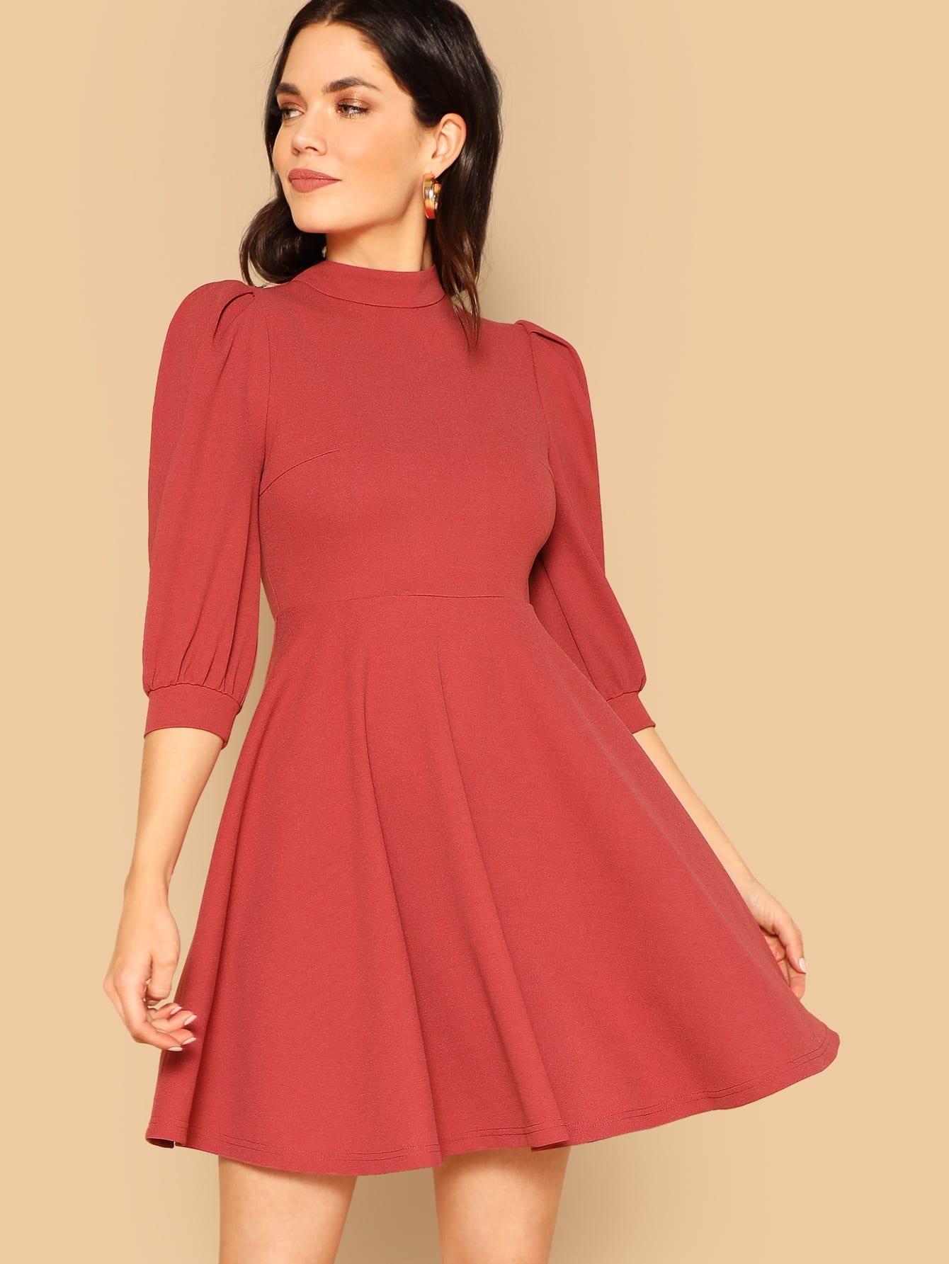 Купить Платье-клёш на молнии со стоячим воротником и оригинальным рукавом, Aarika Wolf, SheIn