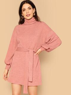 High Neck Bishop Sleeve Sweater Dresses With Belt