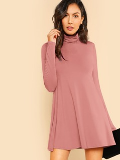 Rolled Neck Solid Trapeze Dress