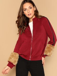 Faux Fur Embellished Raglan Sleeve Bomber Jacket