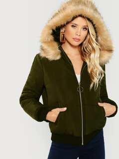 O-Ring Zip Up Faux Fur Contrast Hooded Puffer Coat