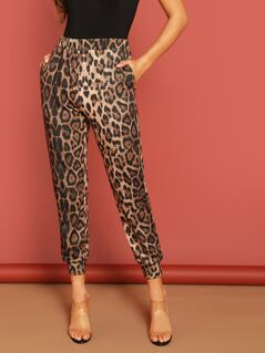 Slant Pocket Leopard Print Crop Tapered Pants