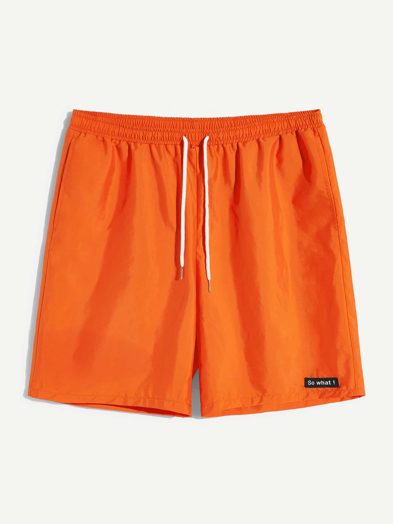 Купить Оранжевый Карман Одноцветный Стиль кэжуал Мужские шорты, null, SheIn