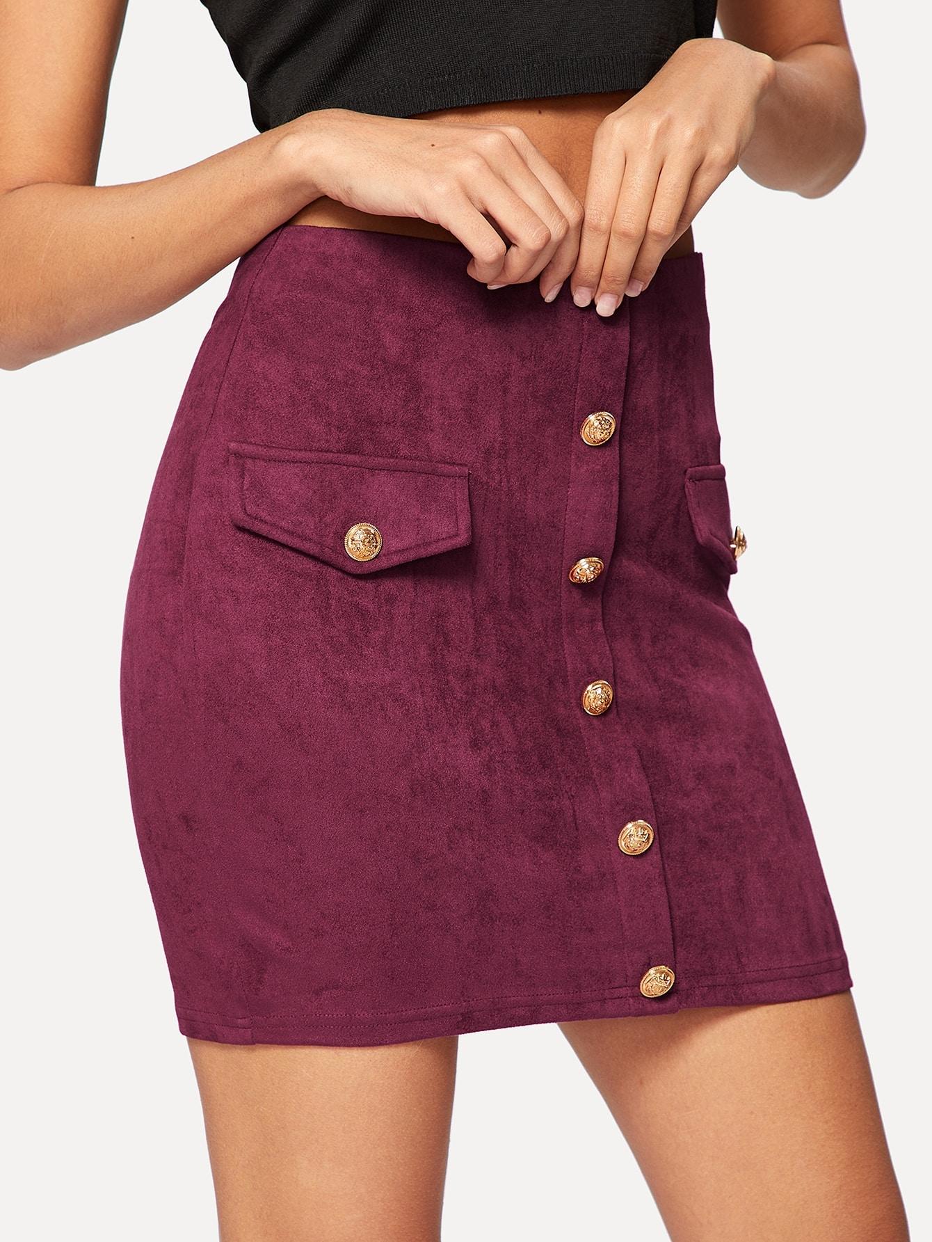 Купить Облегающая юбка на пуговицах с карманом, Giulia, SheIn