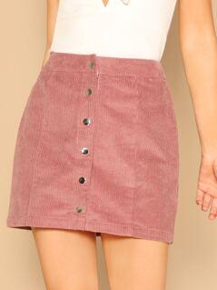 Button Up Corduroy Skirt
