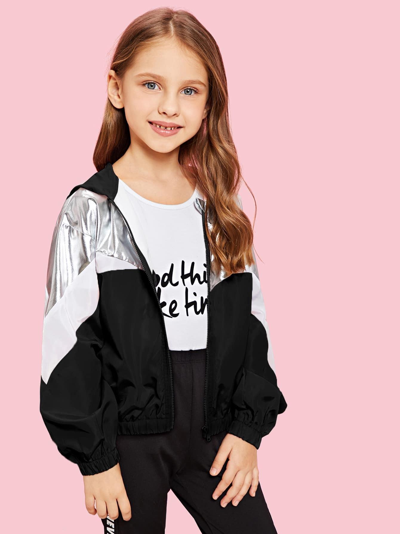 Купить Многоцветный на молнии Повседневный стиль Пальто для девочек, Anna C, SheIn