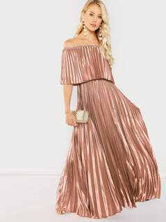 Flounce Bardot Pleated Satin Maxi Prom Dress