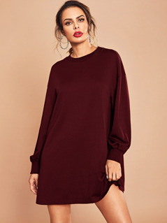 Drop Shoulder Boxy Sweatshirt Dress