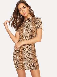 Mock-neck Snakeskin Bodycon Dress