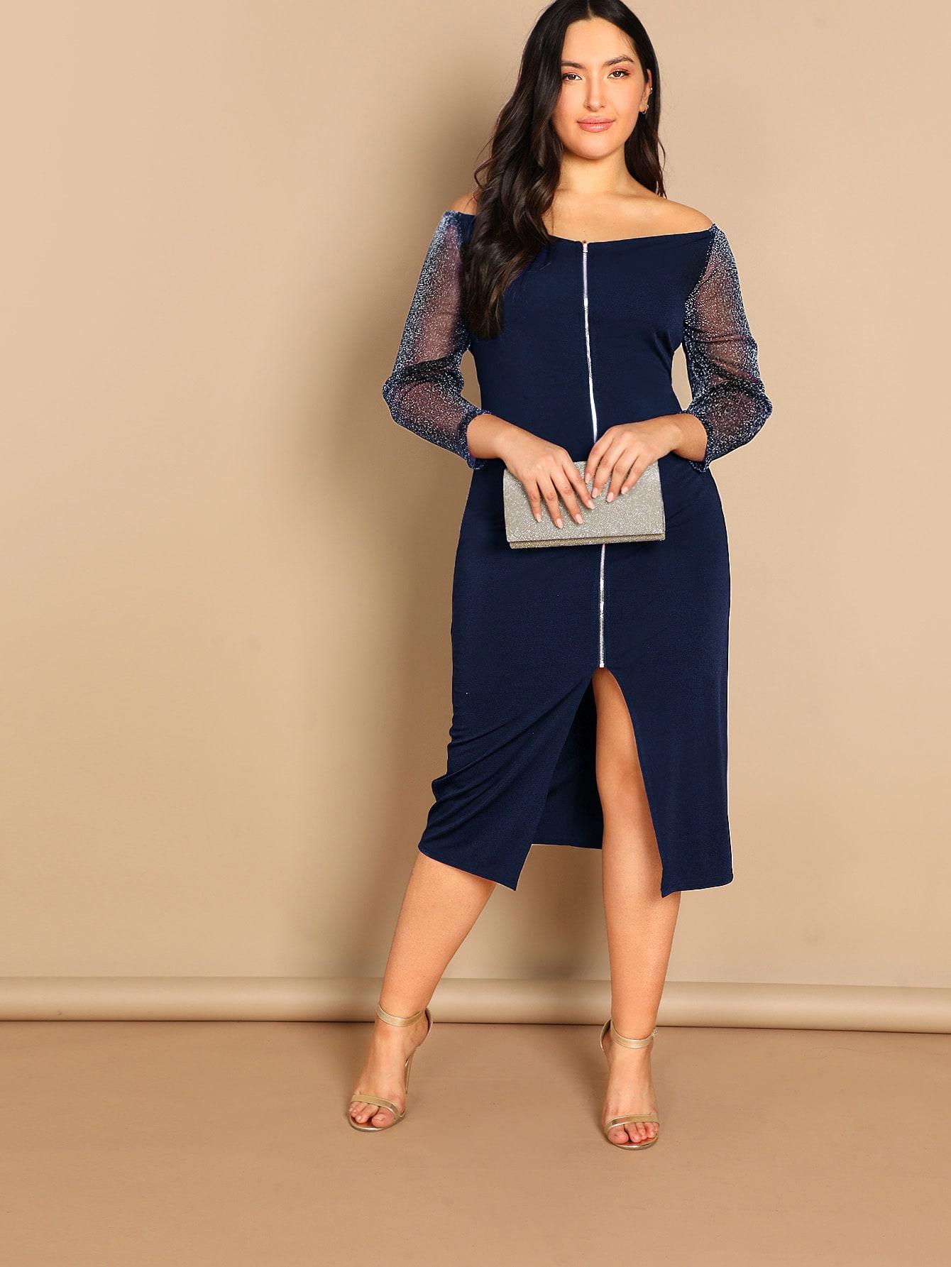 Размер плюс платье на молнии с блестящим рукавом SheIn