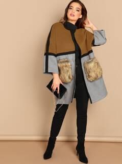 Plus Contrast Faux Fur Pocket Color Block Coat