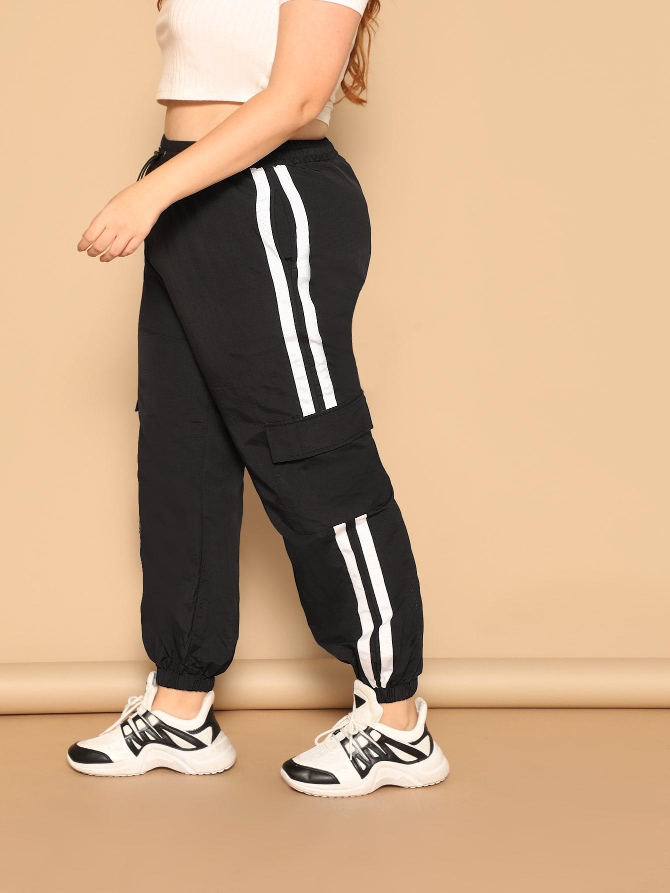 Купить Размера плюс брюки в полоску с карманами, Bree Kish, SheIn