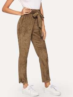 Slit Hem Belted Corduroy Pants