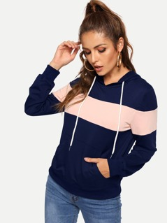 Color Block Pocket Patched Drawstring Hoodie