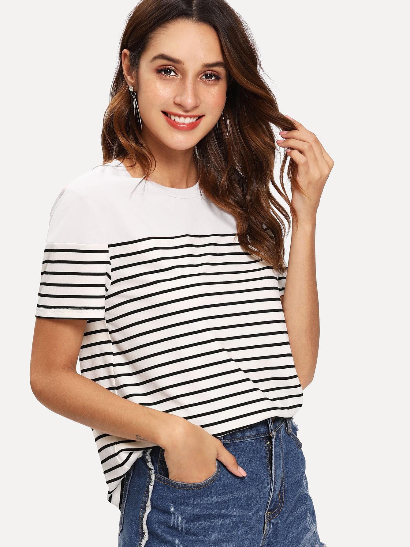Купить Полосатая футболка с однотонным плечом, Gabi B, SheIn