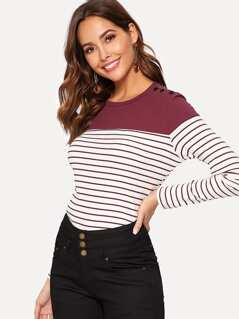 Buttoned Shoulder Rib-knit Striped Tee