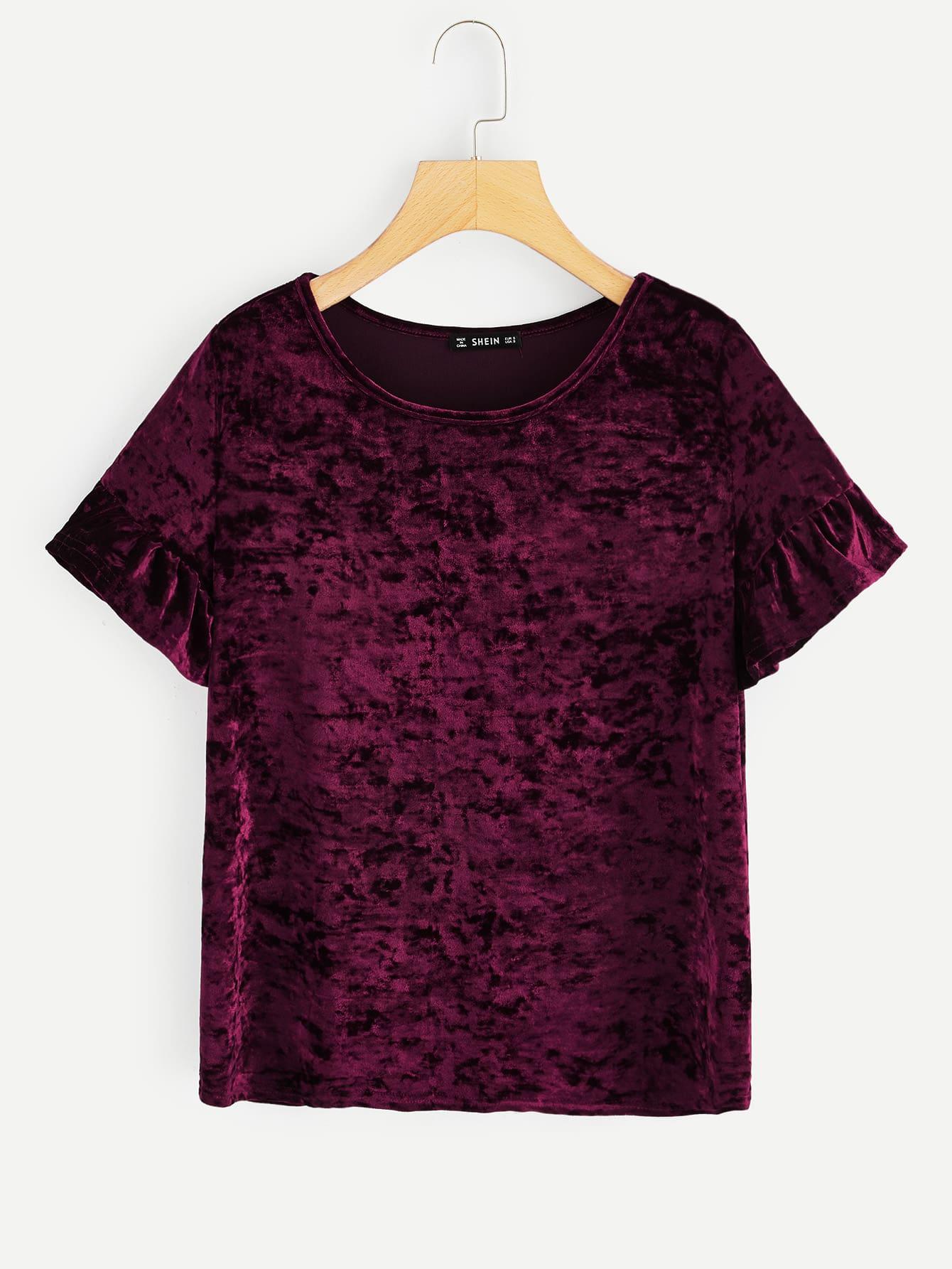 Купить Бархатная однотонная футболка с оригинальным рукавом, null, SheIn