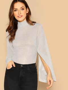 Mock-neck Split Bell Sleeve Glitter Top