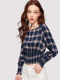 Shirred Panel Frill Trim Plaid Crop Top