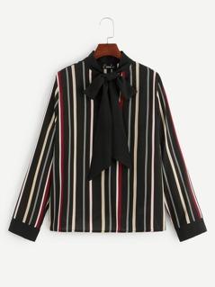 Tie Neck Striped Top