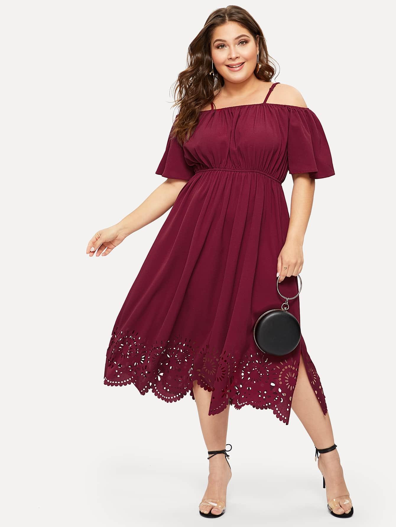 Размер плюс платье с одним плечом и разрезом