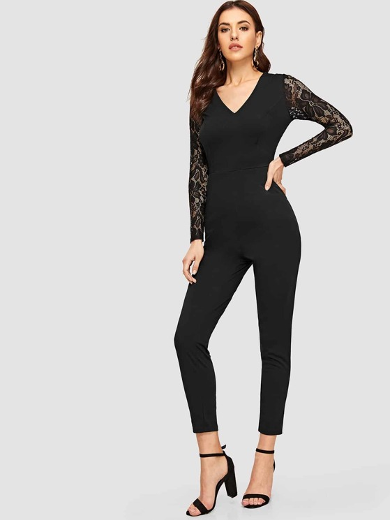 c1d93a1de4a2 V-neck Lace Sleeve Slant Pocket Fitted Jumpsuit